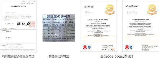 有料職業紹介事業許可証 建設業の許可票 ISO9001:2008の登録証